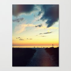 Night Beach Stroll Canvas Print