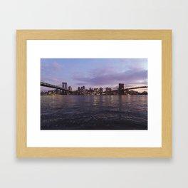 Between Two Iconic New York Bridges Framed Art Print