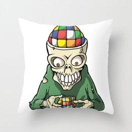Rubik's skull Throw Pillow