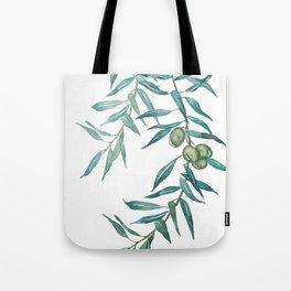 green olive leaf watercolor Tote Bag