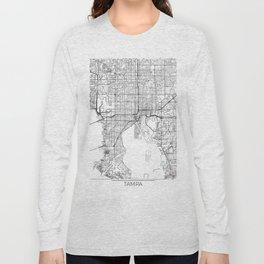 Tampa Map White Long Sleeve T-shirt