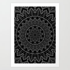 Black and White Lace Mandala Art Print