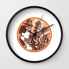 Futuristic City Woman Side Circle Woodcut Wall Clock