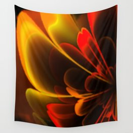 Stylized Half Flower Red Wall Tapestry