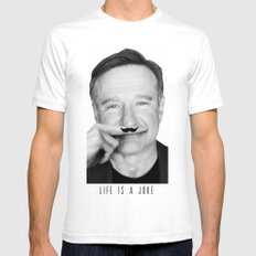Robin Williams Life is a joke White Mens Fitted Tee X-LARGE