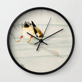 Mallard Duck Diving under water - Vintage Japanese Woodblock Print Art Wall Clock