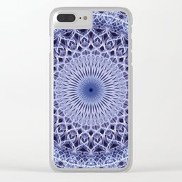 Light blue and gray mandala Clear iPhone Case