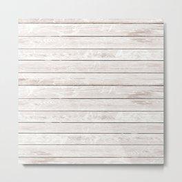 Rustic ivory white vintage wood Metal Print