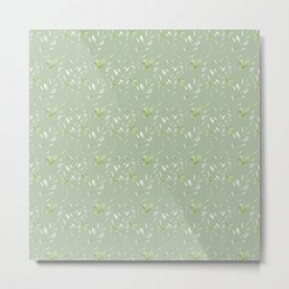 Mint green watercolor hand painted floral leaves Metal Print