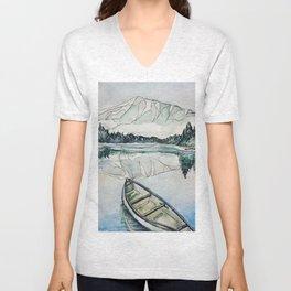 Canoe on the lake Unisex V-Neck