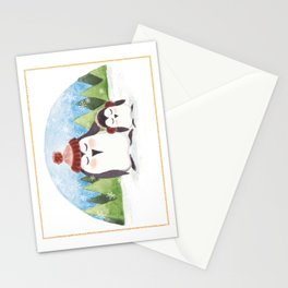 Snowy penguins Stationery Cards