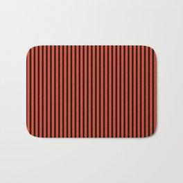 Tangerine Tango and Black Stripes Bath Mat