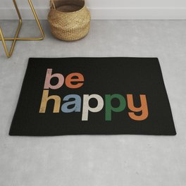 be happy colors rainbow Rug