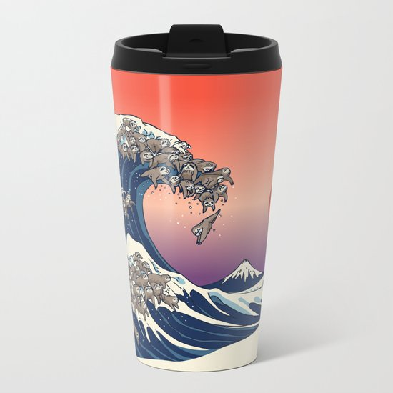 The Great Wave of Sloth Metal Travel Mug