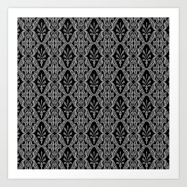 Gray Ikat Art Print