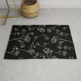 White Hand Drawn Flowers on Black Background Rug