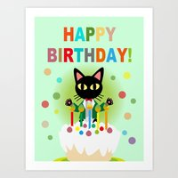 happy birthday Art Prints featuring Happy Birthday! by BATKEI