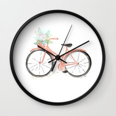 Coral Spring bicycle with flowers Wall Clock