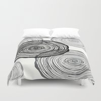tree rings Duvet Covers featuring rings by Claire Rose Kleese