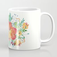 water colour Mugs featuring sweet floral water colour by frances simone