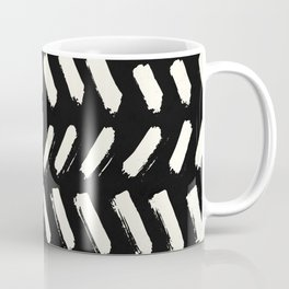Tribal Dance Dot - Ivory on Black Coffee Mug