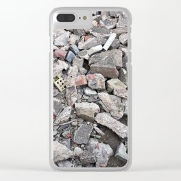 broken urban grey concrete bricks photo texture Clear iPhone Case