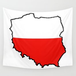 Poland Map with Polish Flag Wall Tapestry