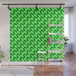 Pattern of bright squares and green rhombuses with diagonal triangles. Wall Mural