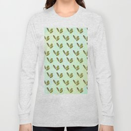 Colorful stylish retro hand drawn botanical interior design and textile design pattern in green Long Sleeve T-shirt