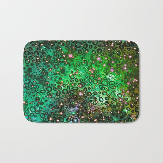 RAINBOW DOTTY OCEAN 3 Green Lime Ombre Space Galaxy Colorful Polka Dot Bubbles Abstract Painting Art Bath Mat