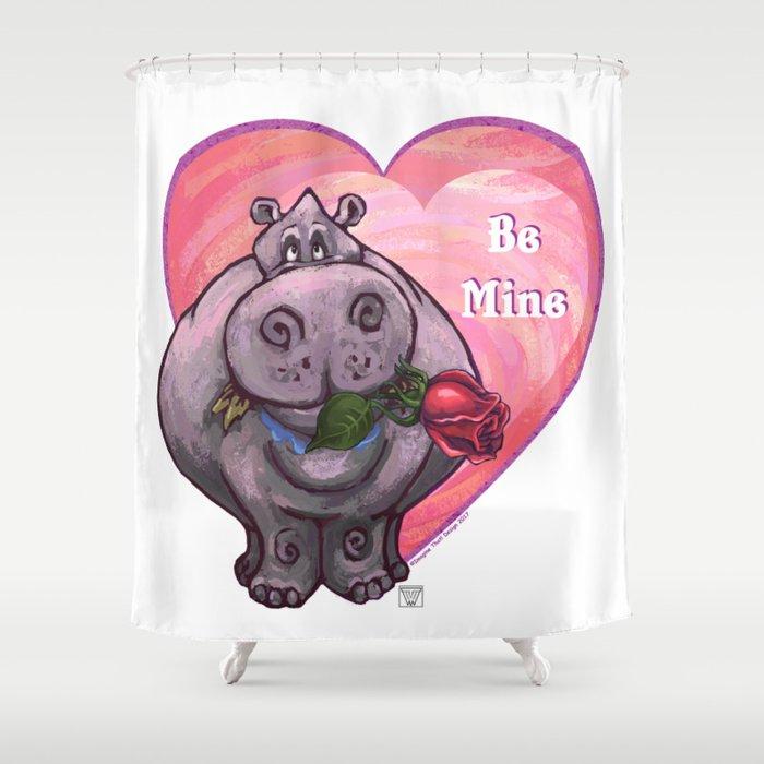 Hippopotamus Valentines Day Shower Curtain