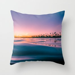 Wavy Palm Trees Sunset Throw Pillow