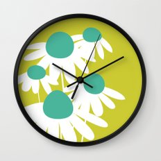Flowers on Green by Friztin Wall Clock