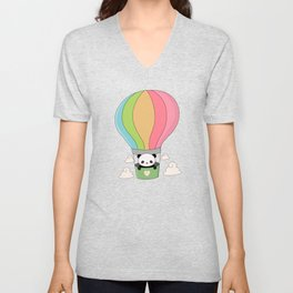 Kawaii Panda Bear Hot Air Balloon Unisex V-Neck