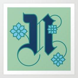 Letter 'N' is for Nigella Art Print