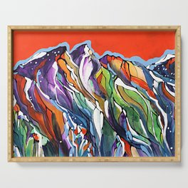 Freezing Hot Colorful Mountain Art Serving Tray