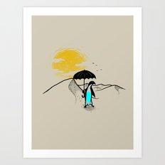 Penguin in the Desert  Art Print