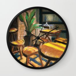 Pastel Painting | Cafe Morning Wall Clock