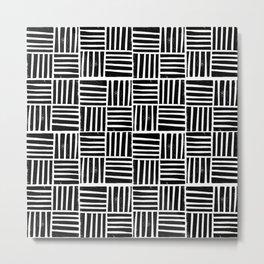 Linocut black and white minimal pattern stripes criss cross squares Metal Print