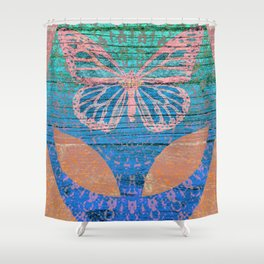 Wood Texture Alien Butterfly Boho Print Shower Curtain