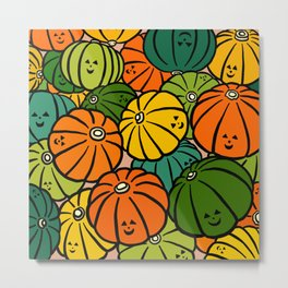 Halloween Pumpkins in Action Metal Print