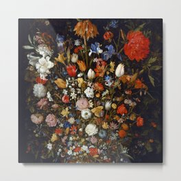 "Jan Brueghel the Elder ""Flowers in a Wooden Vessel"" Metal Print"