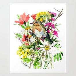 Robin Bird and Summer Colors Art Print