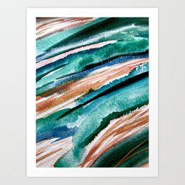 Here's to the Dreamers [2]: a minimal, watercolor abstract piece in pinks, green, blue, and white Art Print