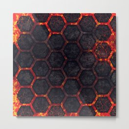 Lava Hexagons Metal Print