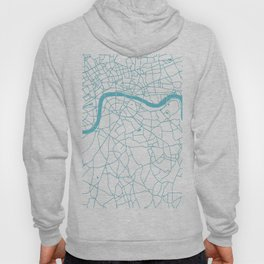 London White on Turquoise Street Map Hoody