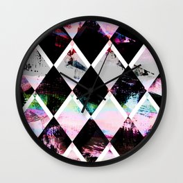 black and pastel colored geometric pattern Wall Clock