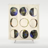 moon phases Shower Curtains featuring Phases of the Moon by Lindsay Milgrim