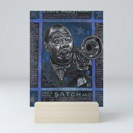 Louis Armstrong in Blue Mini Art Print