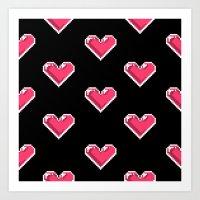 Pixel Hearts Pattern Art Print